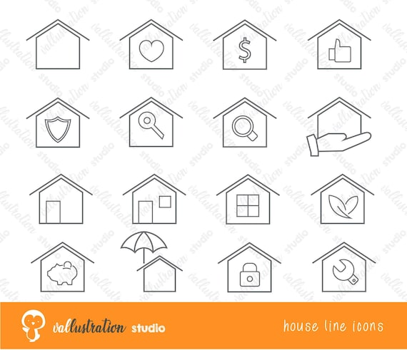 Set Of House Line Icons Clipart Clip Art Construction Etsy