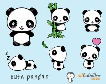 Panda Clipart, Cute Panda Clipart, Kawaii Panda, Clip Art, Scrapbooking, Crafts, Digital, PNG, AI, EPS,