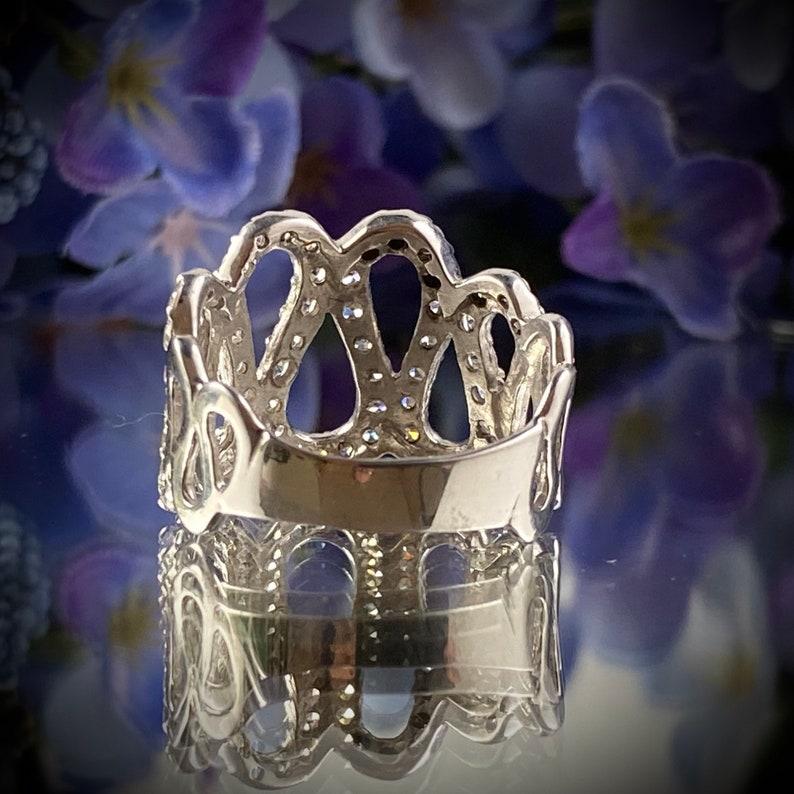 Sterling Silver 925 Handmade CZ Ribbon Ring