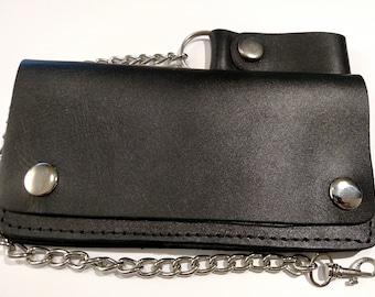 Genuine-Leather-Motorcycle-Trucker-Biker-Chain-Wallet-inside-Zipper-Black-B00 Plain