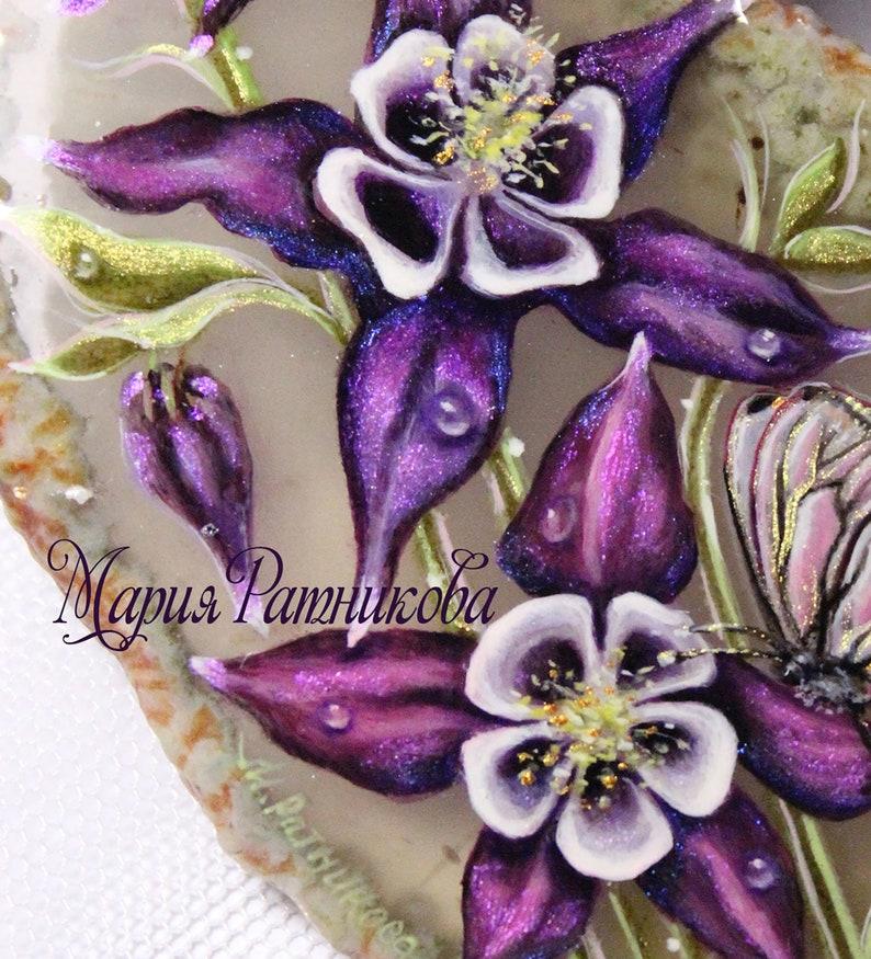 Pendant with  hand painting Aquilegia