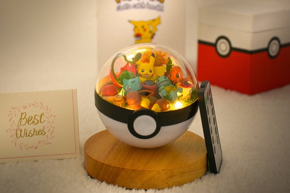 Pokemon Terrarium Pikachu Charmander Bulbasaur Squirtle With Lantern Terrarium Pokeball Pokemon Go Party Favors Party Gifts For Him/Her by Etsy