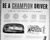 1950 Champion Spark Plug-Road Sign Shapes-Original 13.5 10.5 Magazine Ad