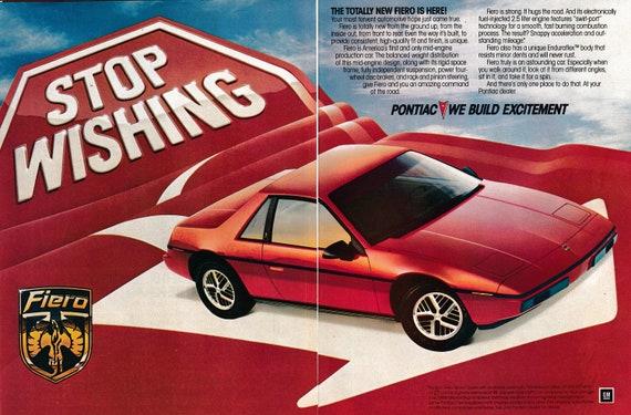 1983 PONTIAC FIERO RED SPORTS CAR Vintage Look REPLICA METAL SIGN STOP WISHING