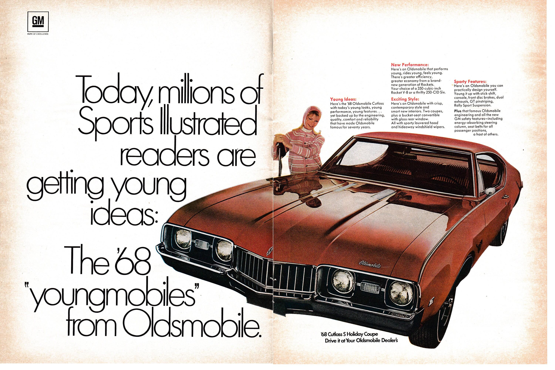 1968 Oldsmobile Cutlass Holiday Coupe 350 Rocket V-8- Original 2 Page  Magazine Ad