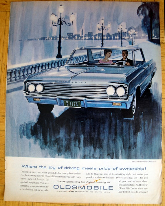 1963 Oldsmobile Dynamic 88 Blue 4 Door Sedan Original 13 5 10 5 Magazine Ad