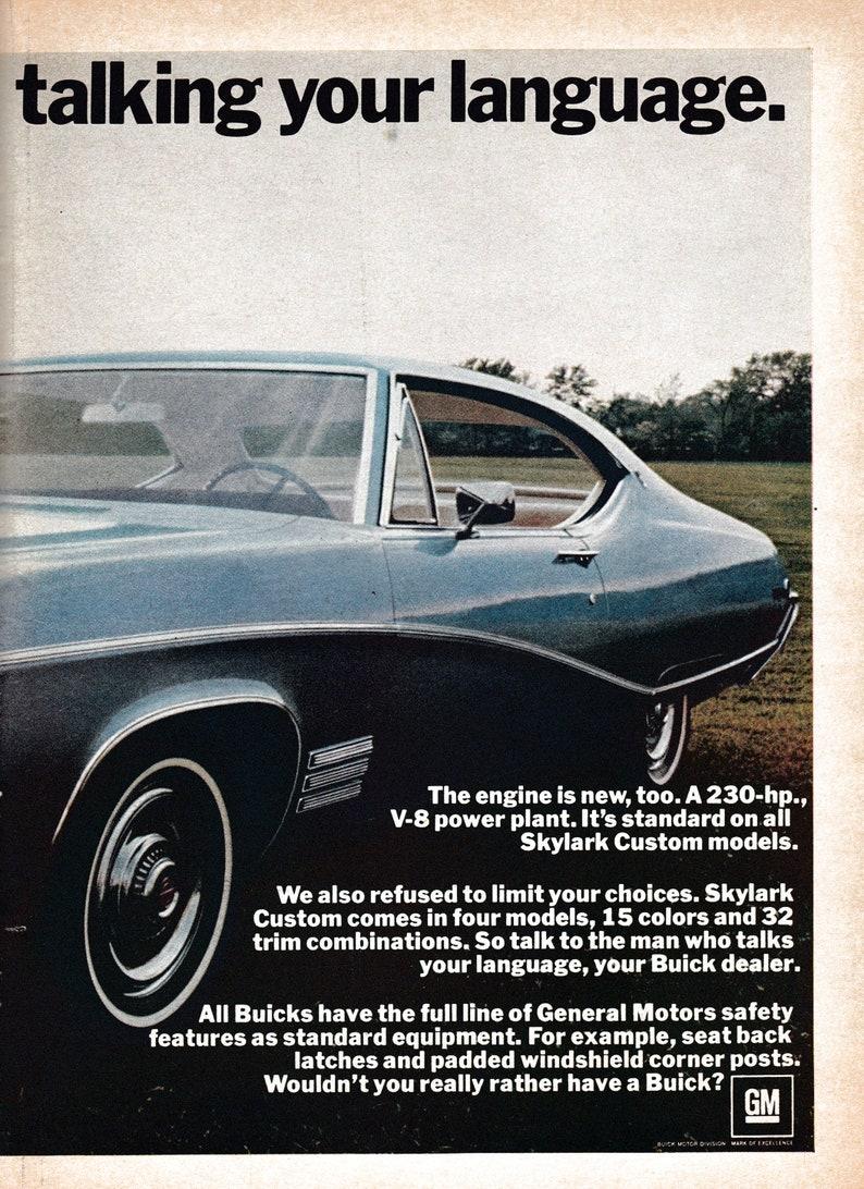 1968 Buick Skylark 230 HP V-8 Engine-Original 2 Page ...