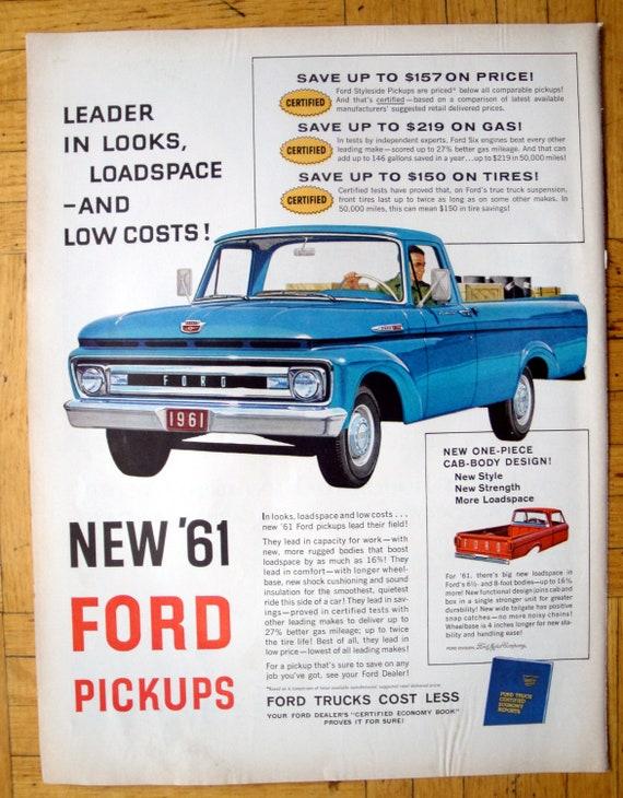 1961 Ford F 100 Pickup Truck Blue Flatbed Original 13 5 Etsy