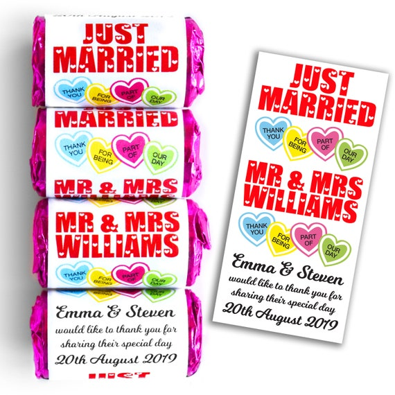 Great favours! Personalised wedding LOVE HEART sweets Personalised just for you