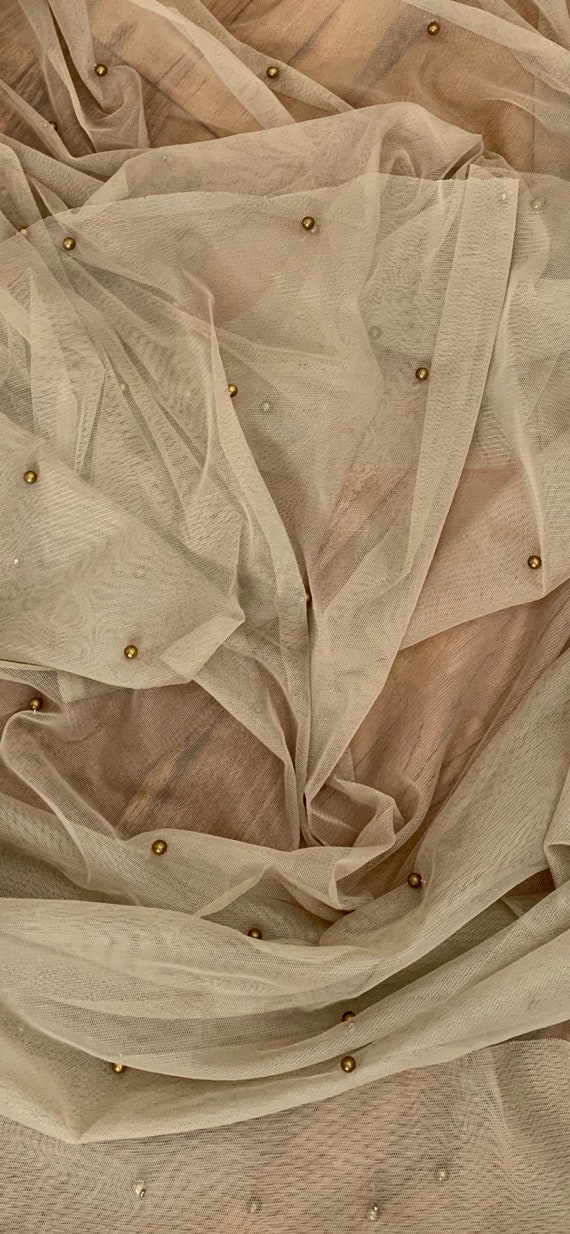 """1 MTR SOFT CHAMPAGNE PEARL BEADED BRIDAL//DECORATION TULLE FABRIC..45"""" WIDE"""