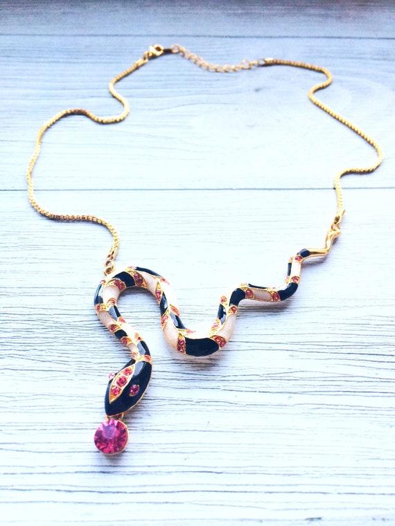 Gold Snake Pendant Necklace 18K Gold, Serpent pend
