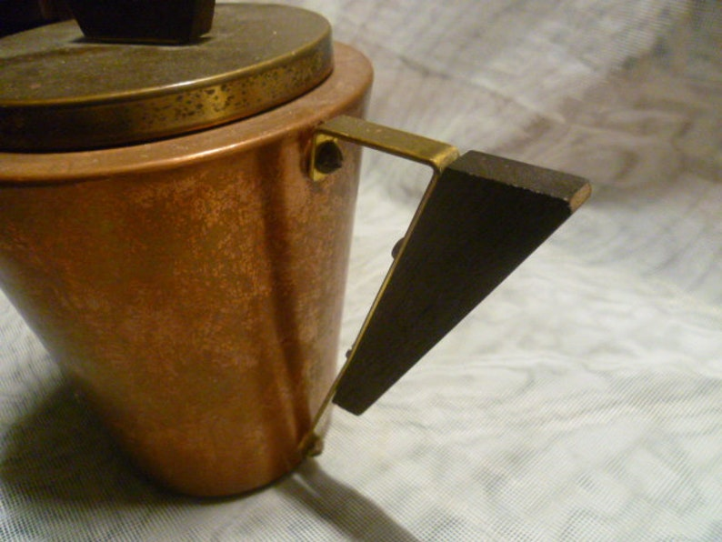 Teapot Copper Brass Mahagony Handle 4050s MID CENTURY SPACE Rockabilly Era Wagner Esslingen Cocoa