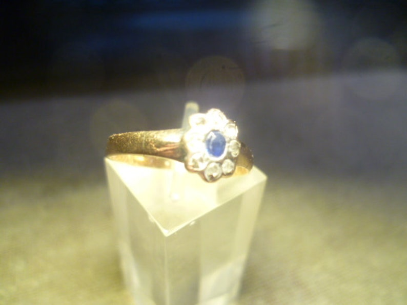 1857 Biedermeier or Classicism Women/'s Ring Mid 19 Jhd 585 Sapphire with Old Cut Brilliant Ring Size