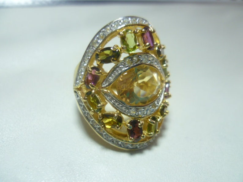 Citrin Tourmaline White topases fully framed ring 925 solid vintage the top gift jewellerware from 1970