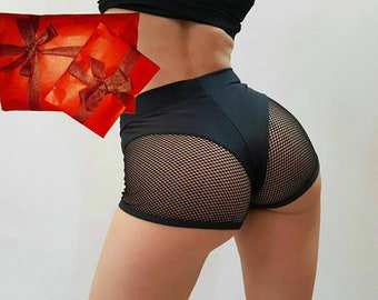Fishnet pole booty shorts, hot cheeky bottoms for Twerk with mesh