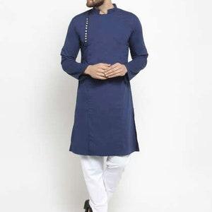 Homewear Kurta Cultural Men/'s Wear Cotton Long Sleeve Kurta Loungewear Men\u2019s Cotton Clothing Loose Shirt Indian 100/% Cotton Mens Shirt