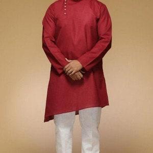 100/% Cotton Mens Shirt Men\u2019s Cotton Clothing Loungewear Indian Loose Shirt Long Sleeve Kurta Homewear Kurta Cultural Men/'s Wear Cotton
