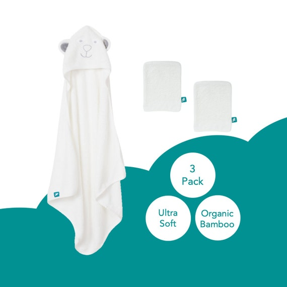 1 Large Hooded Towel and 2 Bamboo Bath Wash Mitts Organic Bamboo Hooded Baby Towel 3-Piece Set Extra Soft and Thick Material