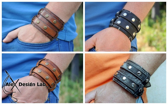 Brown and Black leather cuffs leather bracelets with silver mixed leather jewelry leather with star leather with cross studded leather