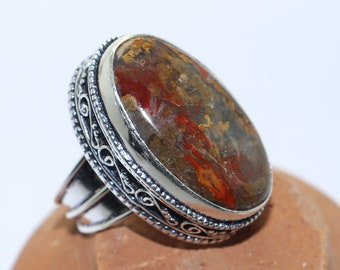Beautiful Red Lace Agate stone handmade silver plated ring