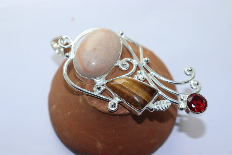 Beautiful Garnet and Tiger stone handmade silver plated cross pendant