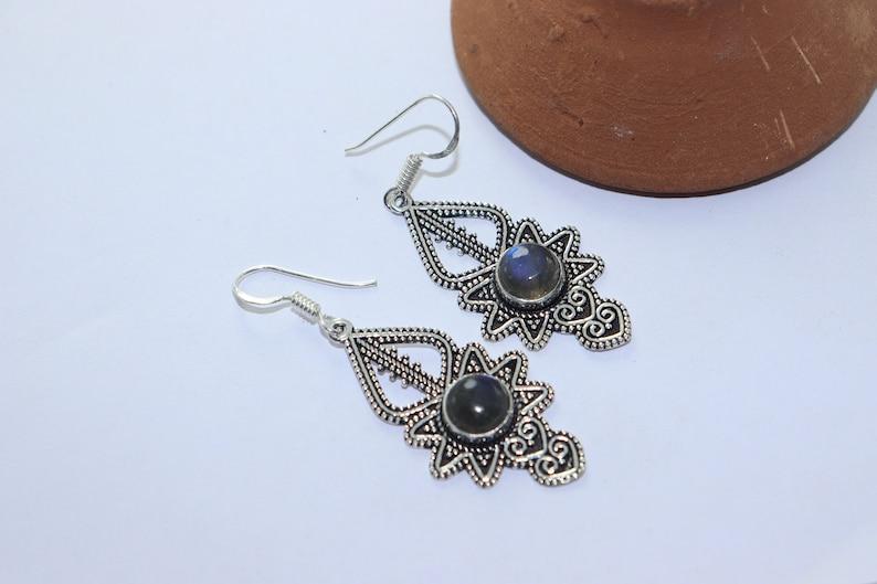 Beautiful Labradroite stone handmade silver plated earing