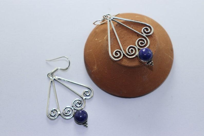 Beautiful Lapis stone handmade silver plated earing