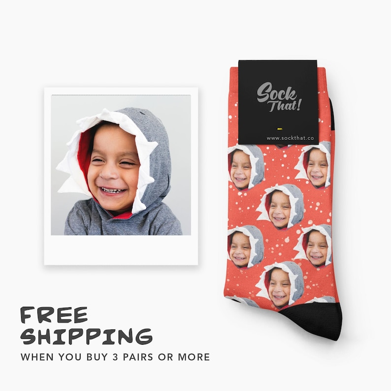 Personalized Snow Fall Face Socks Custom Christmas Let It Snow Face Socks Unique and Creative Holiday Gift Idea with Snowy Background