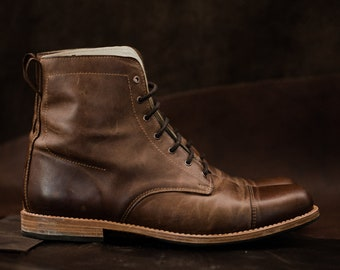 Man Boots 100% Leather Handmade Casual Elegant Boots & Shoes for Men Brown Vintage High Quality Motorcycle Cafe Racer Goodyear welt