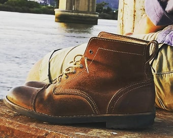 Man Boots 100% Leather Handmade Casual Elegant Boots & Shoes for Men Brown Vintage High Quality Fall Boots, Lace-up Boots, Ankle Boots