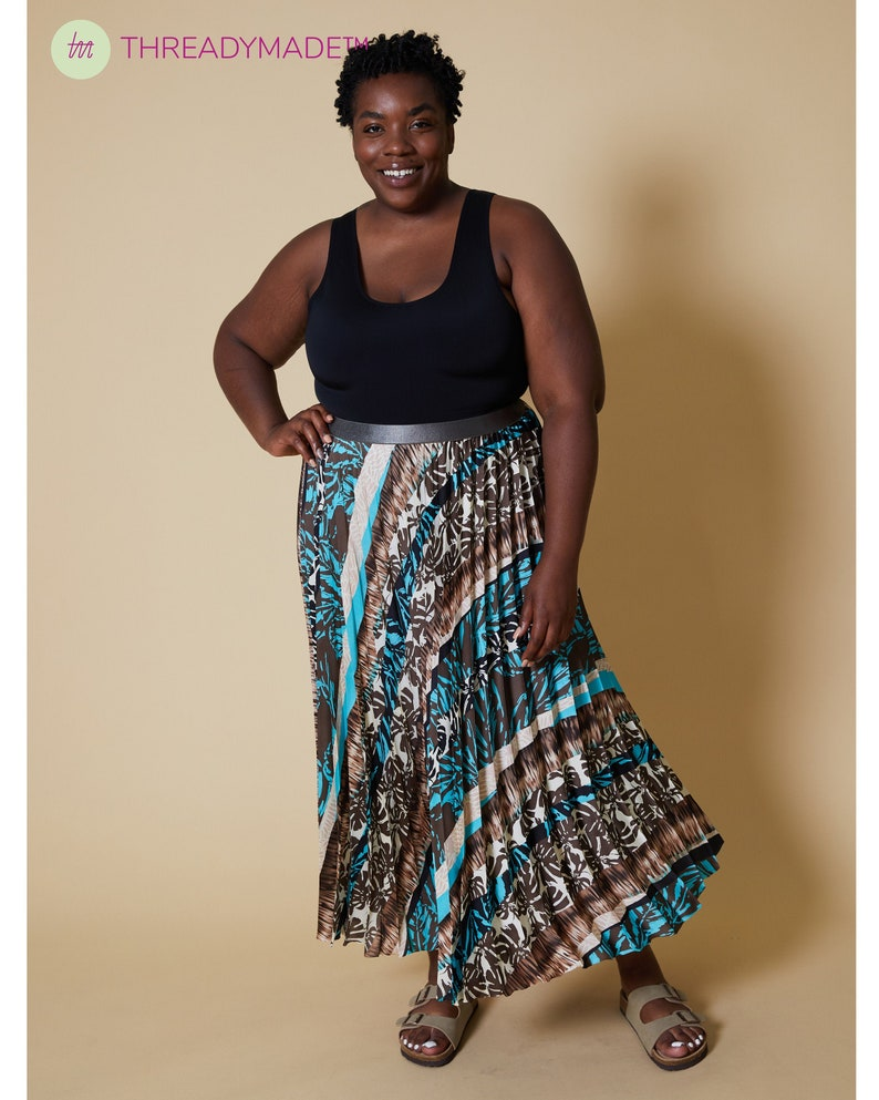 Tropical Beach Skirt Easy to Sew Kit Pleated Skirt Project Pleated Circle Skirt DIY Midi Skirt Beginners Sewing Plus Size Patterns