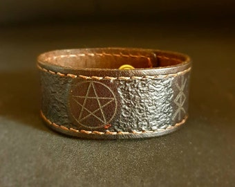 Handcrafted Leather Sigil Bracelet - Can be Personalised