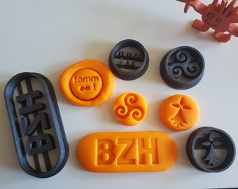 """4 bzh cookie cutters (Brittany) - triskelion, ermine, BZH and """"tomm eo"""", for playdough, modeling clay or biscuits"""