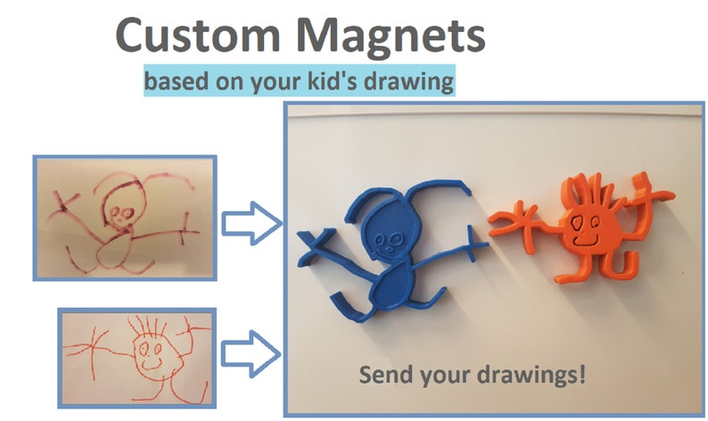 custom magnet based on your child/'s drawing