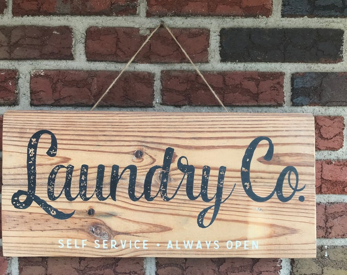 Laundry Co. Salvaged Wood Sign