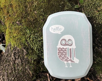 Whimsical Owl Wooden Sign