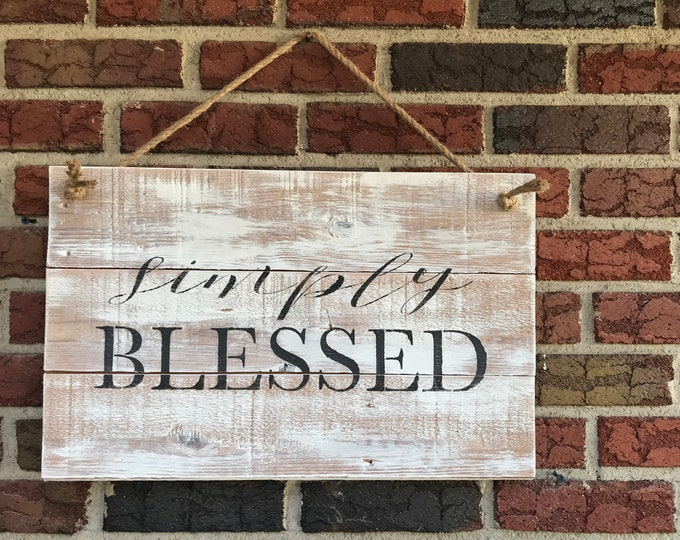 Simply Blessed Salvaged Wood Sign
