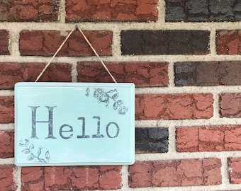 Hello Wooden Sign