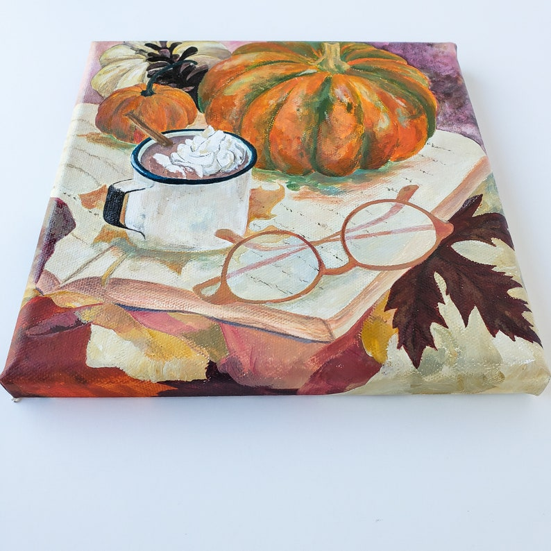 8x8 Autumn original painting on canvas hot chocolate cozy time book /& glasses art pumpkin painting fall home decor leaves interior get cozy