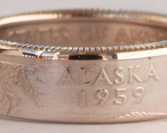 SILVER COIN RING from Alaska 90% Silver Proof Quarter (Price Reduced)