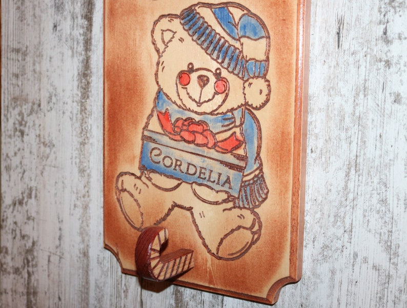 Stocking Holder with Christmas Teddy Bear n Candy Cane Wooden image 0