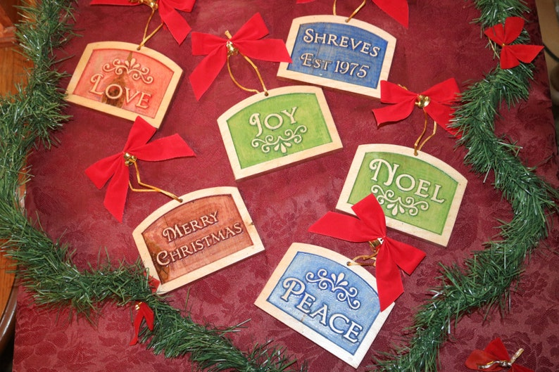 6 Christmas Ornaments Vintage Style Carved in Wood with Family image 0