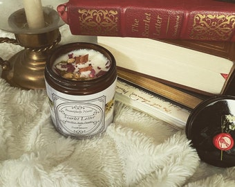 The Scarlet Letter inspired candle, hand poured, small batches.