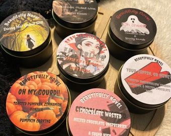 Halloween/Fall candles. Hand poured in small batches.