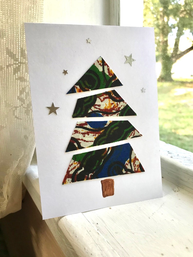 Set of 5 Kitenge Christmas Tree Cards with Stars Handmade Africa Recycled Materials Tanzania Nuru Workshop Lifting Ability Out of Disability