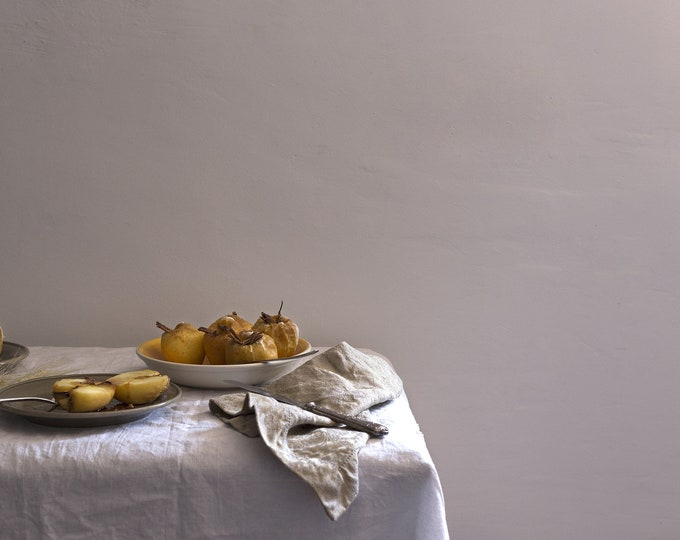 Linen tablecloth, off-white, stonewashed