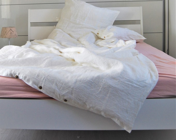 Beddingset 220 x 155 cm in off-white, Linen stonewashed