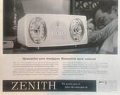 Vintage 1959 ZENITH Clock Radio Advertising Print Ad 2979