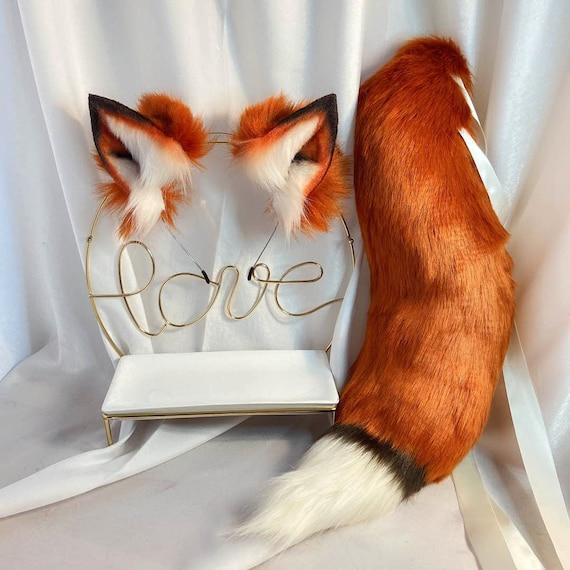 22in Red Fox Tail-Red Fox Ears-COSPLAY-Animal Ears-Plush Headband-Simulation Fox Ears-Customized-Cat Ears-Halloween Gifts-lolita-Wolf Ears
