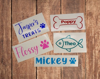 2 x PERSONALISED DOG CAT PET NAME BOWL BASKET STICKER STICKERS DECAL